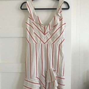 Parker Aldo Striped Linen Ruffle Dress (4)